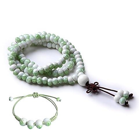 CAT EYE JEWELS 108 Prayer Beads Cracked Ice Ceramic Meditation Mala Beads Bracelet Necklace Lime (Ice Jewelry For Men)