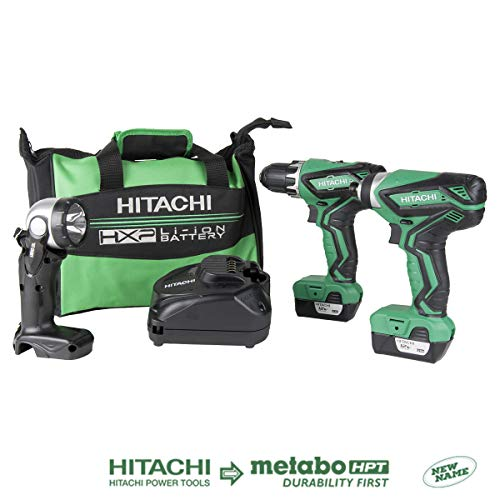 (Hitachi KC10DFL2 12-Volt Peak Cordless Lithium Ion Driver Drill and Impact Driver Combo Kit (Lifetime Tool Warranty) )