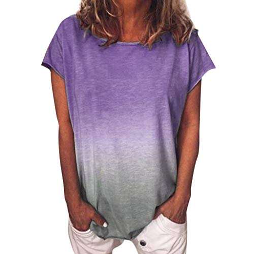 (Women's T-Shirt Casual Gradient Color Short Sleeved Round Neck T-Shirt Tunic Casual Summer Blouse Tee Tops Purple)