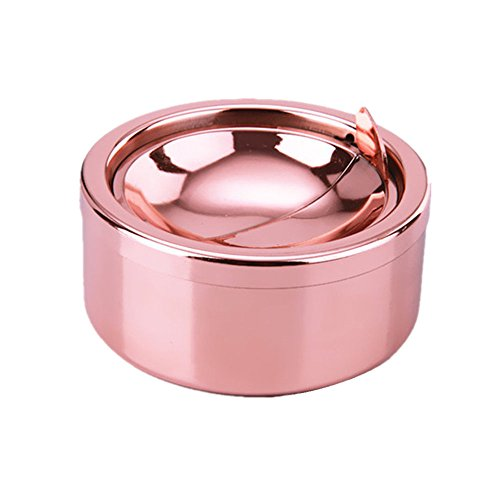 Rose Cigarette - Zaoniy Stainless Steel Ashtray with lid, Cigarette Ashtray for Indoor or Outdoor Use, Ash Holder for Smokers, Desktop Smoking Ash Tray for Home Office Decoration (Rose Gold)