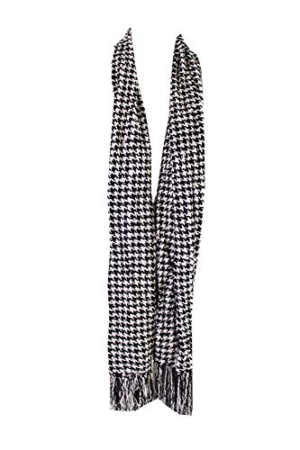 White Chenille Scarf - Charter Club Women's Chenille Houndstooth Fringe Scarf (Black/White, One Size)