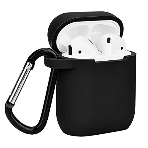 CiliCase Shockproof Case Cover with Keychain and Silicone Strap for Apple Airpods Charging Case (Black)