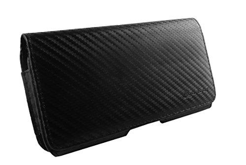 Emartbuy® Carbon Effekt horizontale schwarze Tasche Case Hülle ( Größe 4XL ) Mit Gürtel Clip tauglich Apple Iphone 6 Plus