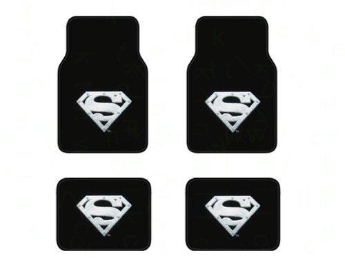 A Set of 4 Universal Fit Front and Rear Logo Plush Carpet Floor Mats - Superman Silver - Floor Mats Super Plush