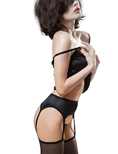 "Gatta TALIA Women's Luxurious Black Sheer Stockings with Attached Satin Garter Belt [Made in Europe] (3/4 (M/L) 5'4""-5'10"", 128-185 - Sheer Garter Satin"