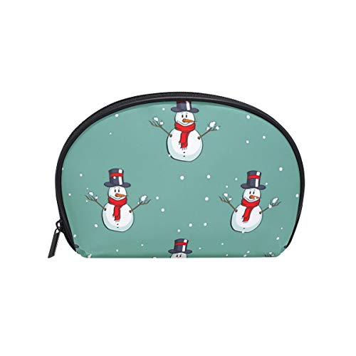 (Half Moon Cosmetic Beauty Bag Cartoon Happy Snowman Travel Handy Organizer Makeup Pouch for Women Girls)