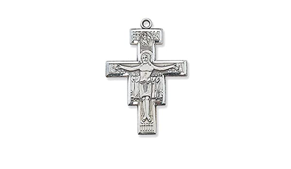 Bonyak Jewelry Sterling Silver Cross with 18 in Rhodium Plated Brass Chain and Deluxe Gift Box