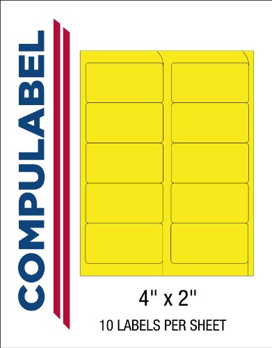 Compulabel 312186 Fluorescent Yellow Address Labels for Laser Printers, 4 x 2 Inch, Permanent Adhesive, 10 per Sheet, 100 Sheets per Carton