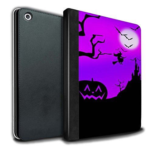 (STUFF4 PU Leather Book/Cover Case for Apple iPad 9.7 (2017) Tablets/Pumpkin/Witch Design/Halloween Scene)