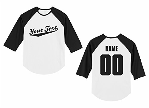 - The All Stop Shop Infant Custom Personalized Raglan 3/4 Sleeve Shirt, Baseball Script, Back Name & Number
