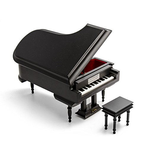 Black Wooden Grand Piano Musical Box with Compartment for Rings and Earrings 18 Note Piano Jewelry Music Box with 400+ Song Choice