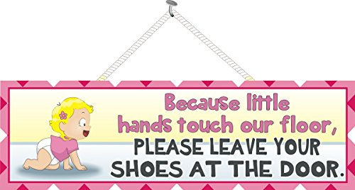 Please Remove Your Shoes Baby Sign with Crawling Blonde Haired Girl in Pink T-Shirt and Diaper with Pink Gingham Border – Fun Sign Factory Original