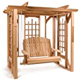 Western Red Cedar Wood Garden Arbor Pergola with Swing