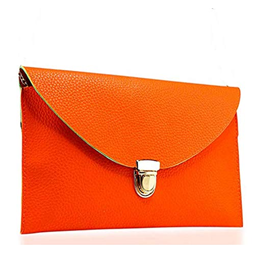 Amaze Fashion Women Handbag Shoulder Bags Envelope Clutch Crossbody Satchel Purse Tote Messenger Leather Lady Bag (Orange)