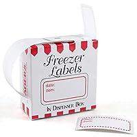 Etiquetas para congelador blancas y rojas de 1 x 2 pulgadas, juego de 100