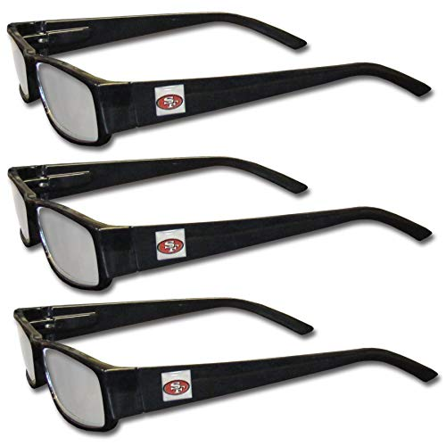 (Siskiyou NFL San Francisco 49ers Adult Reading Glasses (3-Pack), Black, Reading Power: +1.75 (Renewed))