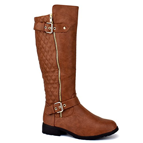(Forever Mango-21 Women's Winkle Back Shaft Side Zip Knee High Flat Riding Boots Tan 10)