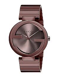 Gucci Men's Swiss Quartz Metal and Alloy Dress Watch, Color:Brown (Model: YA133211)