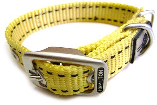 Hamilton 1-Inch by 22-Inch Single Thick Nylon Pet Sport ID Dog Collar, Yellow