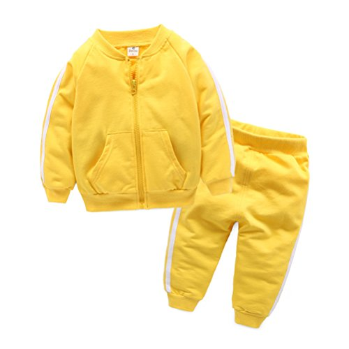 UWESPRING Baby Boy Cotton Tracksuit Boys' Jogging Sets Coat+Trousers 6-7T Yellow