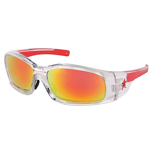 - Crews Red/Orange Mirror Safety Glasses, Scratch-Resistant
