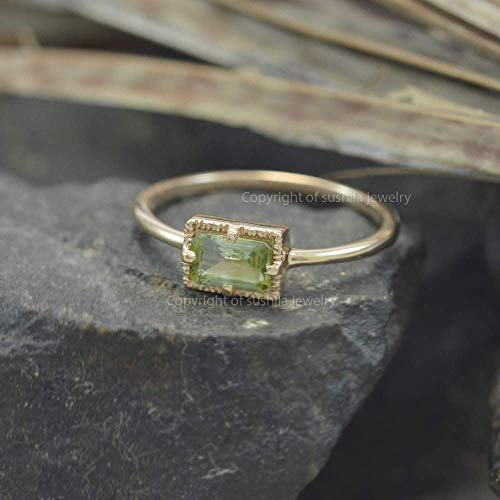 Geanuine Green Peridot 14k Solid Yellow Gold Emerald Cut Gemstone Ring Christmas Jewelry Size 3 to 9 (All size)