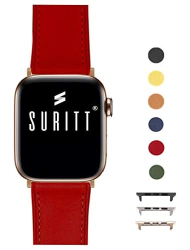 Suritt for Apple Watch leather strap Rio Colors available   buckle and adapter colors choose from  Black Silver Gold   Series and 4    38mm 40mm  Red Gold