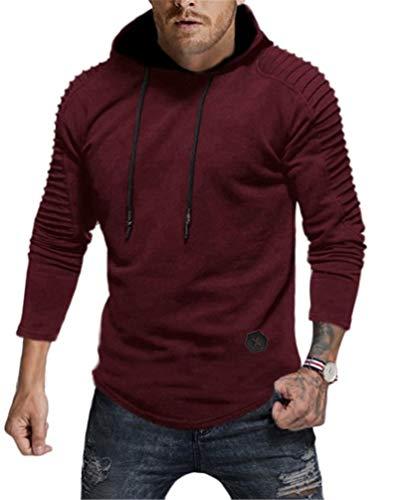 (Nietage Men's Pullover Hoodie Pleated Raglan Long Sleeve Hooded T-Shirt Slim Fit Sweatshirt (HS80-Man Wine Red XL))