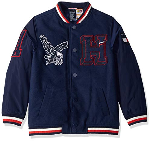 Tommy Hilfiger Boys' Big Adaptive Varsity Jacket with Adjustable Shoulder Closure, Peacoat -