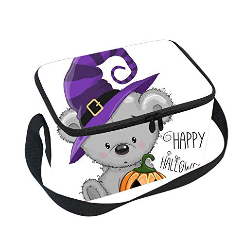 Halloween Bear Lunch Box Bag, lunch Tote Lunch Holder with Adjustable Strap and Portable, Double Shoulder Design for Men Women Boys Girls ()