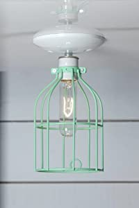 Mint Green Cage Light - Ceiling Mount Industrial Lighting - White