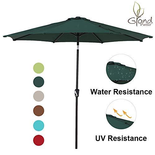 Grand Patio 9 FT Enhanced Aluminum Patio Umbrella, UV Protected Outdoor Umbrella with Auto Crank and Push Button Tilt, Green - Outdoor Market Patio Umbrella