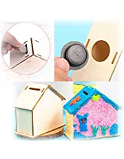 Wooden Money Banks White Wooden Embryo(No Color&Coloring Tool) House Shaped Safe Money Box/Savings Banks/Saving Pot can be DIY Painted and Decoration Creative Perfect Coin Bank,4.2 * 4 * 2.2 Inches