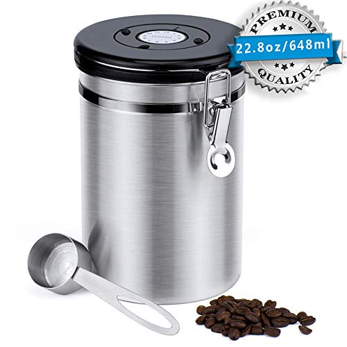 Stainless Steel Coffee Canister, 22.8 oz Airtight Coffee Storage Containers with Built-in CO2 Gas Vent Valve & Date Tracking Wheel & Scoop, Vacuum Storage Jar Keep Coffee Sugar Tea Fresh(Sliver,Large)