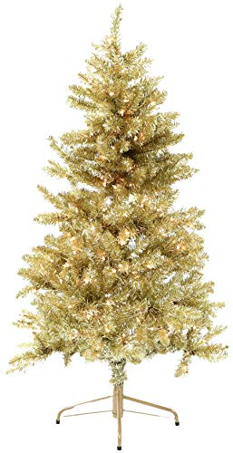 Fraser Hill Farm, Gold 7-Ft. Festive Tinsel Christmas Tree with Clear LED Lighting (Artificial Trees Christmas Los Angeles)