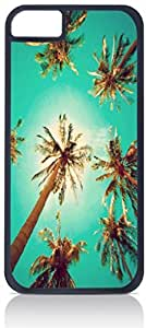 Palm Trees-Bottom View- Case for the Apple Iphone 4-4s Universal-Hard Black Plastic Outer Shell with Inner Soft Black Rubber Lining