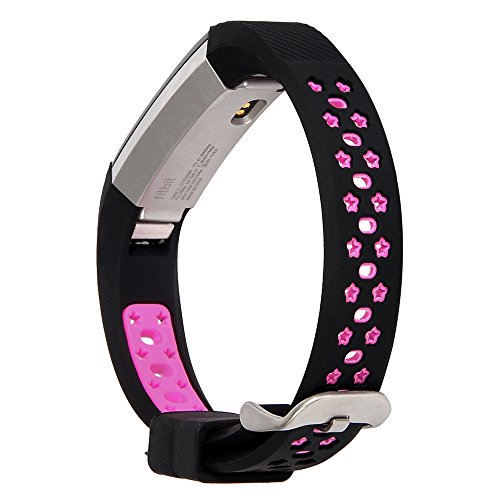 Lwsengme Silicone strap for Fitbit Alta/Fitbit Alta HR Wrist Replacement Band Smart Watch Fitness Strap Accessory (Black/Pink)