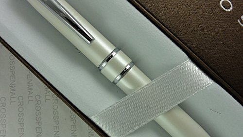 Cross Executive Companion Pearlescent White startford with Cross Signature Jewelry-quality Center Bands and Spring Loaded Unique Clip Ballpoint Pen. A Great gift for Graduation, Christmas , Wedding, Birthday, Christening , Ordination and Confirmation - Executive Center