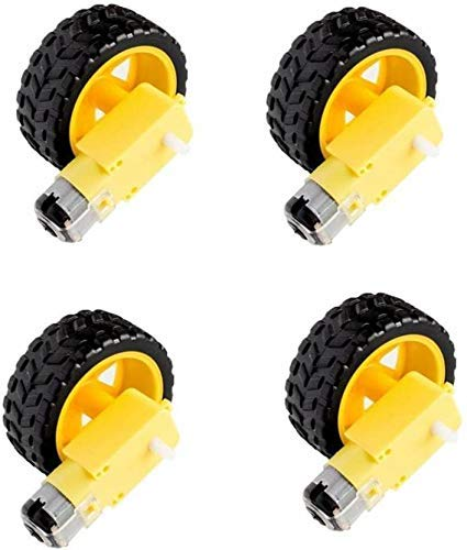 Super Debug BO Motor Dual Shaft and Wheels Smart Car Robot Gear Motor for Arduino, Black and Yellow Pack of 4 Price & Reviews