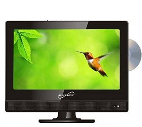 SuperSonic 1080p LED Widescreen HDTV with HDMI Input, AC/DC Compatible for RVs and Built-in DVD Player, 13.3-Inch