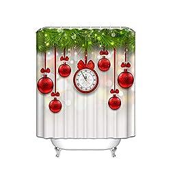Red Christmas Ball Snowflake Scales Clock Happy New Year Christmas Tree Vertical Stripe Bathroom Decoration Hook Bathroom Decor Set Men and Women Art Wedding Gift Polyester Fabric - 72 X 72
