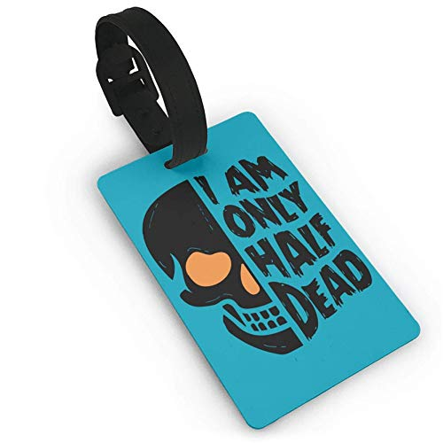 Halloween Half Dead Skull,Plastic,Luggage Tags,PVC Travel,Suitcase Labels ID Tag Travel Luggage Tag ID Identification Labels
