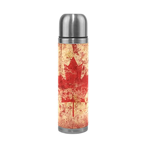 Canada Vintage Flag (LEISISI Vintage Canada Flag Stainless Steel Water Bottle Leak-Proof Vacuum Insulated Flask Pot Sport Double Wall Water Bottle PU Leather Travel Thermal Mug 17 Oz)