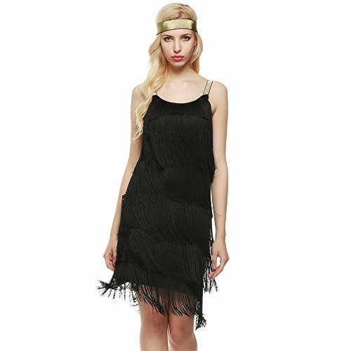 Eshion Women Sleeveless Tassels Glam Gatsby Fringe Flapper Dress