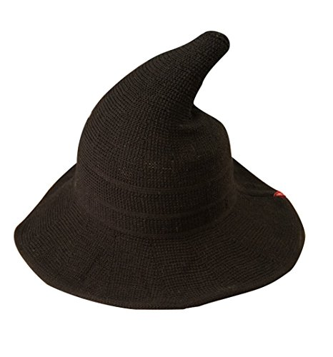 Luoke Women Summer Witch Cotton Sun Hat Foldable Costume Ball Hat Cap (Black) -