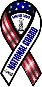 2-in-1 Red, White, and Blue National Guard Ribbon Magnet