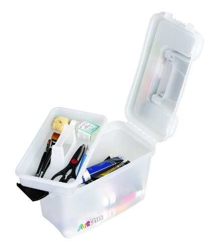 ArtBin 8408AB Sidekick - 15 x 10 x 7.75 in. Translucent, Art and Craft Supply Storage with Lift Out Tray, Portable