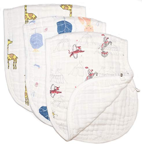 Baby burp cloths by Babykinique - made of highly absorbent cotton muslin, large (21x10), soft, versatile (use also as bib or rag), for boys or girls, multi-layered, animal prints (fox, - Animals Layered