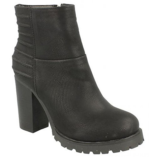 Ladies Black Heeled On Panelled Ankle Womens Spot Boots q1gO6Ex