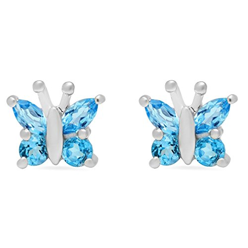 Butterfly Stud Earring Set - Swiss Blue Topaz Butterfly Stud Earrings set in Sterling Silver